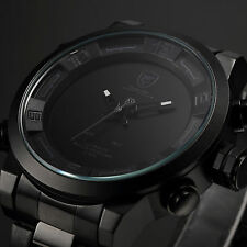 SHARK LED Day Date Alarm Black Stainless Steel Men's Army Quartz Sport Watch