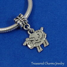 Silver SHEEP Farm Animal Dangle Bead CHARM fits EUROPEAN Bracelet