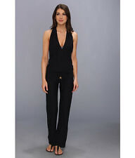 Luli Fama Cosita Buena T-Back Long Jumpsuit Cover-Up Small black plunge neck