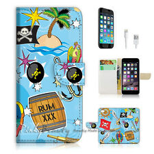 iPhone 7 (4.7') Flip Wallet Case Cover P1450 Pirate
