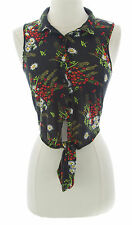 TOPSHOP PETITE Women's Black/Multi Floral Tie Front Top 26F39A US Size 10 NEW
