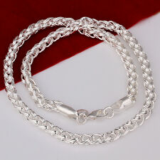"""Cool 925Sterling Silver Wrest Circle Men Women Chain Necklace 6MM 20"""" NY083"""