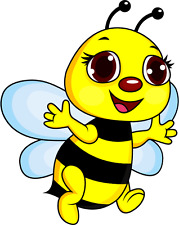 "Smylie Bee Cartoon Car Bumper Sticker Decal 4"" x 5"""