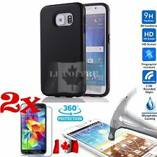 2x Tempered Glass Screen Protector + BLACK Case Hybrid for Samsung Galaxy S7