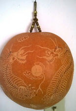 Asian Scrimshaw Hand Carved Gourd Chinese Art Two Dragons Hanging Wall Decor