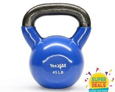Yes4All Vinyl Kettlebell Cast Iron Exercise Training Coated 45 lbs. - ²KGWSE3