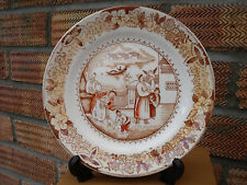 Chinese or English Plate with Oriental Scene of Figures near Waterside.