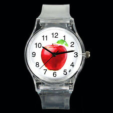 Red Ripe Juicy Apple Fruit Dial Transparent Silicone Rubber Unisex Wrist Watch