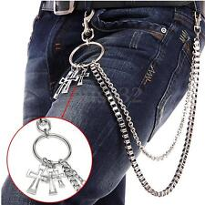 Fashion Mens Double Link Cross Wallet Chains Biker Trucker Jean/Key Chain