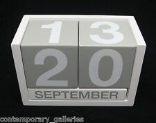 Contemporary Modern Perpetual Gray Grey & White Wood Desktop Calendar No Year