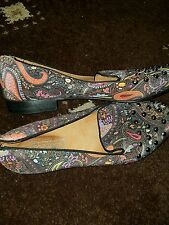 Topshop flower print Loafers with studs