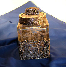 Antique Vanity Jar - Dutch Repousse Silver w/ Lovers & Etched Square Crystal
