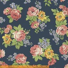 Windham Dover Flannel Navy Blue Pink Peach Rose Flowers Floral Quilt Fabric Yard