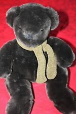 "Pottery Barn Teddy Bear Green Scarf 9"" Plush Stuffed Expresso Chocolate Brown A5"