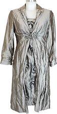 Vera Mont Cocktailkleid  40 mit Mantel, Jacke 38 grau Polyester Seide neu dress