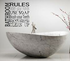 BATHROOM RULES LETTERING BATH WORDS BATHROOM VINYL DECOR DECAL WALL  ART