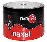 50 MAXELL 4.7GB 120mins DVDR DVD-R BLANK DISCS RECORDABLE DVD 16x DVDS DISC
