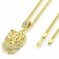 "Mens 14k Gold Plated Small Lion Fully Cz Pendant Hip-Hop 30"" 3mm Cuban Chain"
