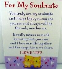 "HEARTWARMER KEEPSAKE MESSAGE CARD ""FOR MY SOULMATE"" LOVE POEM VALENTINE'S DAY"
