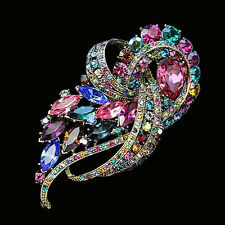 Flower Brooch For Women Fashion Brooches Pins Wedding Rhinestone Crystal Jewelry