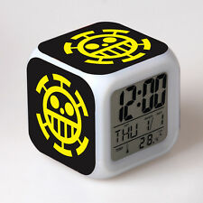 Anime One Piece Trafalgar Law LED Digital Alarm Clock 7 Color Change Thermometer
