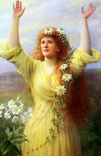Oil painting Gaskell George Arthur Rising Spring beautiful girl Hand painted