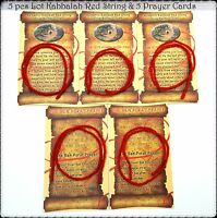 5 Kabbalah Red String Evil Eye Protection Wool Bracelets & 5 Cards with Blessing