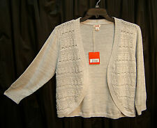 100% COTTON OPEN FRONT/WEAVE CROCHET CARDIGAN JACKET SWEATER SHRUG TOP~3X~2X