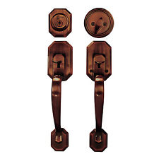 Door Handle Lock Set Copper Single Cylinder Double Entry Way Security Entrance