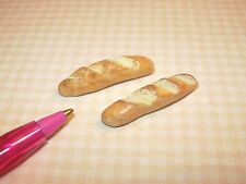 Miniature MEDIUM French Bread Loaves (2): DOLLHOUSE Miniatures Bread Rolls 1/12
