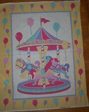 Carousel Merry Go Round Cheater Baby Quilt Fabric Panel Horses Balloons