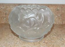 Sweet Fenton Frosted Satin Art Glass Water Lily  Floral Pattern  Rose Bowl