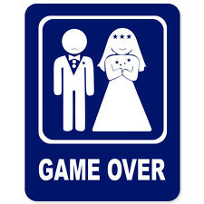 "Game Over Marriage car bumper sticker window decal 5"" x 4"""