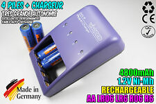 CHARGEUR VIVANCO CHARGER + 4 PILES ACCUS RECHARGEABLE NI-MH 1.2V AA 4800MAH LR06