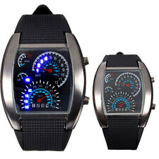 Men Black Silicone Alloy Sport Digital LED Date Car Dashboard Analog Wrist Watch