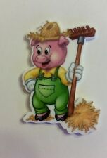 Flat Back Resins (2 For $1.50) Cute little pig farmer with straw hat and rake