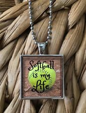 Softball Is My Life Girls Teen Sports Glass Pendant Silver Chain Necklace NEW