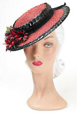 40s Original Red Straw Hat with Contrasting Black Cellophane Straw and Florals