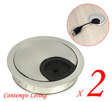"Set of 2 Computer Desk Table Cabinet 2-5/8"" Round Wire Cable Grommet Hole Cover"