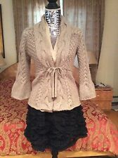 ICONIC RARE SUMPTIOUS LUXE  Brunello Cucinelli cable Taupe Cardigan