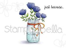 New Stamping Bella Cling Rubber Stamp MASON JAR OF FLOWERS SET OF 2 FREE US SHIP