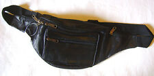 NEW BLACK LEATHER BUM BAG WAIST BELT 5 ZIP POCKET. 103