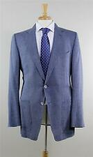 Tom Ford Blue Textured Linen Wool Silk 2 Button Blazer Sport Coat 56L eu 46L US