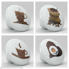 Set of 4 Coffee Theme Bean Ceramic Knobs Pull Kitchen Drawer Cabinet Bar 626