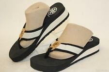 Tory Burch NEW Frankie Womens 6 M Twill & Rubber Wedge Thong Sandals Shoes qp