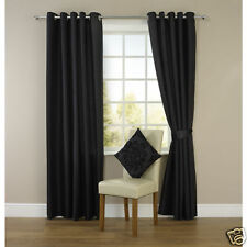 "Long Black Faux Silk Fully Lined Eyelet Curtains  90"" x 108"" inches Ring Top"