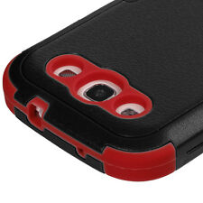 for Samsung Galaxy S3 / SIII - Black Red KICKSTAND Hard+Soft Rubber Hybrid Case