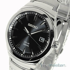 MEN'S SEIKO SOLAR CASUAL DRESS BLACK FACE POLISHED & BRUSHED S/STEEL SNE291P1