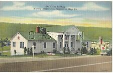WWII Original 1930s-45 PC- Fort Indiantown Gap PA- Red Cross Building- Flag- Car