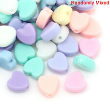 300 Solid Acrylic Hearts Pastel BUBBLEGUM Beads, mixed colors  8mm bac0002
